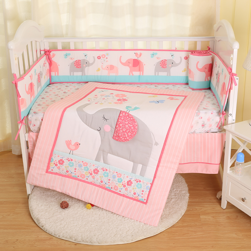 Baby Bedding Set Cartoon Animals Comforter Crib Sheet Crib Skirt Crib Bumper Simple  Baby Bedding Set