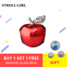 StrollGirl New Arrival 925 Silver Beads Red Enamel Apple Charms Fit European  Bracelets For Jewelry Making Gifts