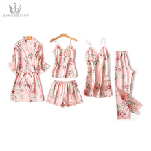 Spring Summer New Imitated Silk Pajamas Sexy Large Size Middle-aged Elegant Home Wear Suit Printed Pajamas Five Pieces Set random printed pajamas suit in camel