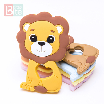 10PCS/5PCS Baby Silicone Teether Lion Pendant Food Grade Perle Silicone Bead Teething Rodent Chewable Children'S Goods Toys
