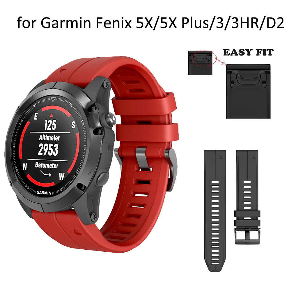 Silicone Strap With Quick Release Wrist Band For Garmin Fenix 5X 3 3HR 26mm 22mm Strap For Garmin Fenix 5 5X Plus Forerunner 935