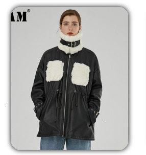 [EAM] black plaid big size Knitting Cardigan Sweater Loose Fit V-Neck Long Sleeve Women New Fashion Autumn Winter 2019 1K356 42