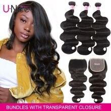 UNICE Hair 5X5 Transparent Lace Closure With Body Wave 3 Bun
