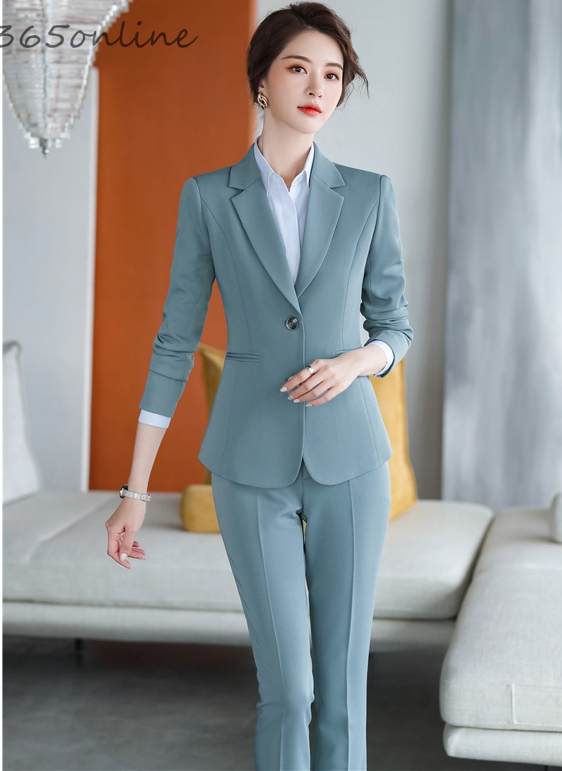 Formal Uniform Designs Pantsuits With 2 Piece Set Pants And Jackets Coat For Women Business Work Wear Office Ladies Blazers