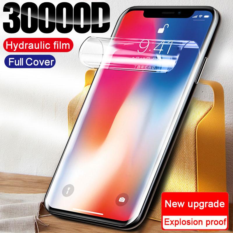 30000D Полное покрытие экрана протектор для iPhone 11 12 Pro XS Max Гидрогелевая пленка iPhone XR X 7 6 6s 8 Plus SE 2020 защитные пленки