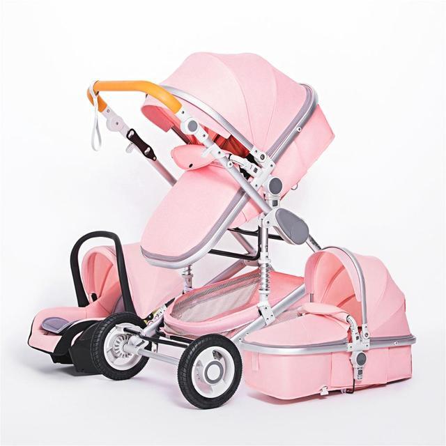 Luxuoso carrinho de bebê 3 em 1 portátil viagem carrinho de bebê dobrável carrinhos quadro alumínio alta paisagem carro para o bebê recém-nascido 5