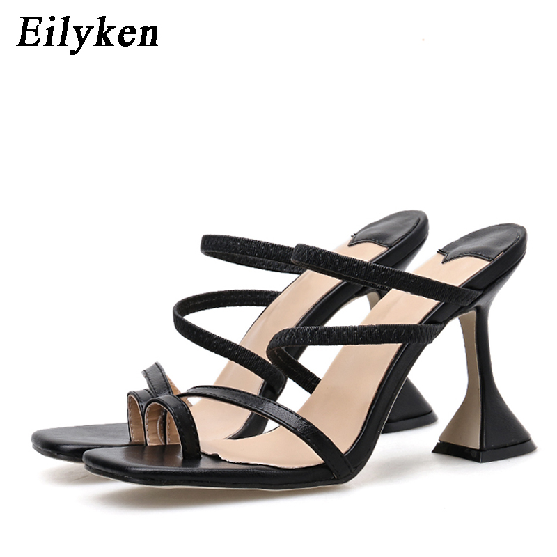 Eilyken Women Slippers 2020 Summer Sexy Open Toed Mules Flip Flops Fashion Strange High Heels Narrow Band Slip On Sandals