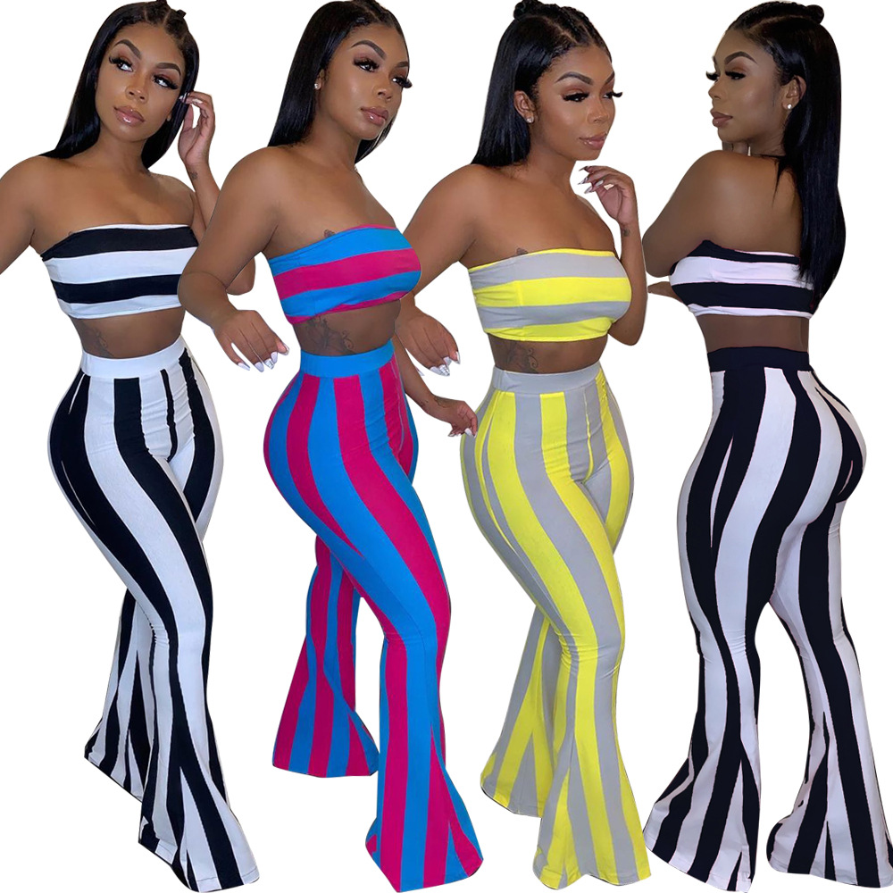 Women Two Piece <font><b>Outfits</b></font> <font><b>Sexy</b></font> Club <font><b>Festival</b></font> Clothing Striped Crop Top and Flare Pants Birthday Matching Suit 2 Piece Set image