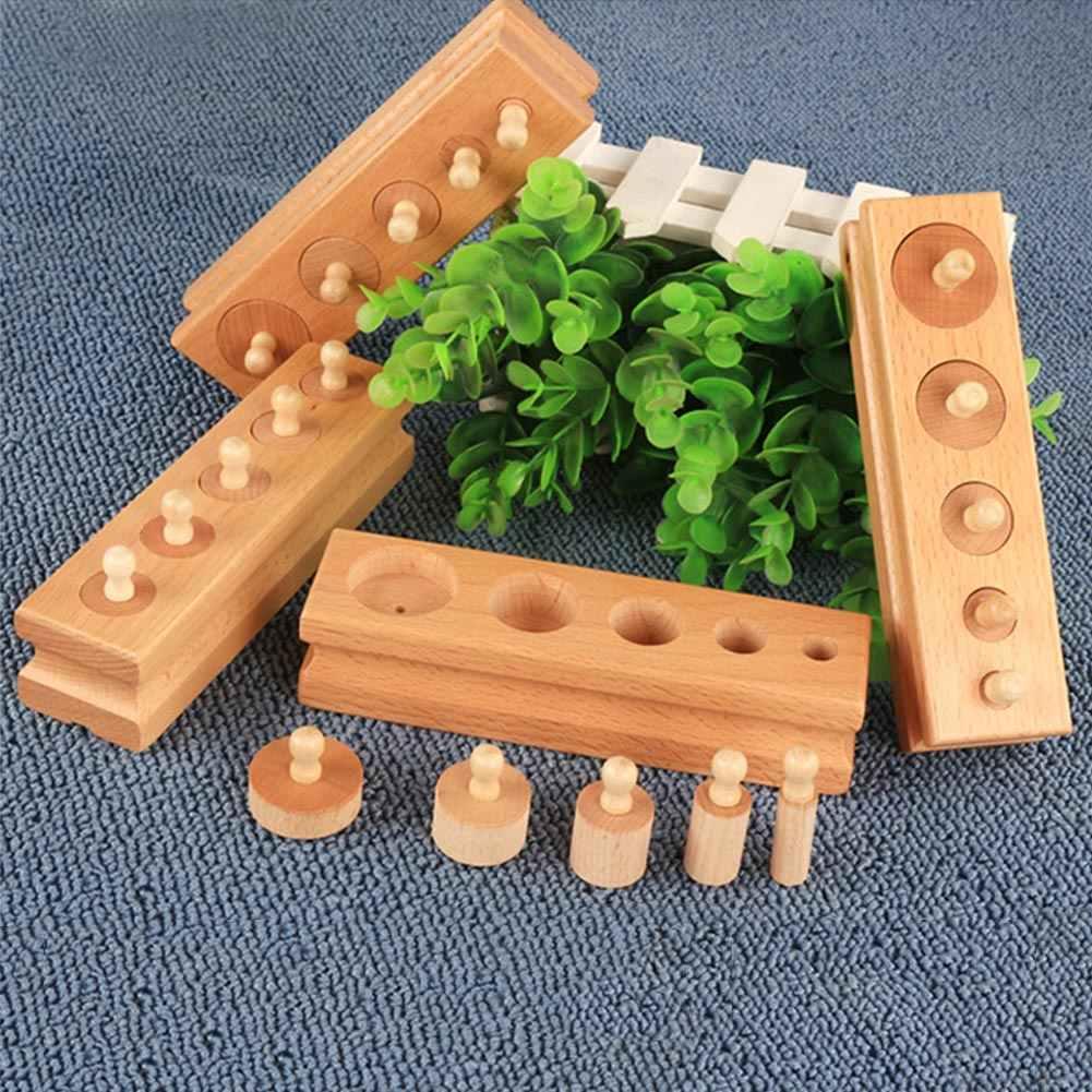 เด็กฝึกพัฒนา Lean รูปร่างทารกเด็กอ่อนของขวัญ Cylinder SOCKET บล็อก Senses สนุกของเล่นเพื่อการศึกษาก่อนวัยเรียนชุดไม้