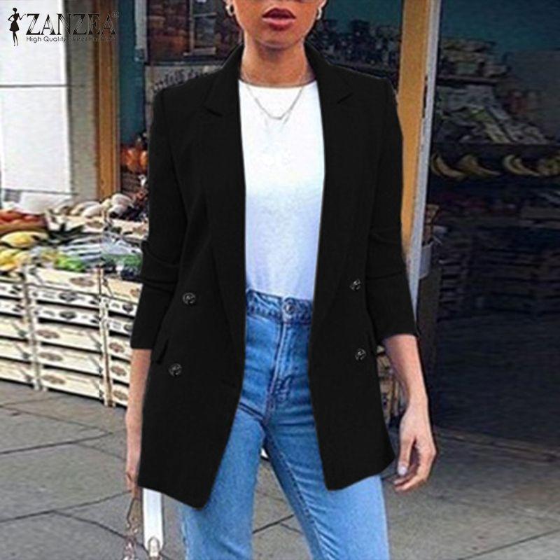 ZANZEA Oversized Blazers Women Long Sleeve Coat 2020 Fashion Lapel Neck Solid Pockets Overcoat Chaquetas Mujer Casaco Femme 5XL