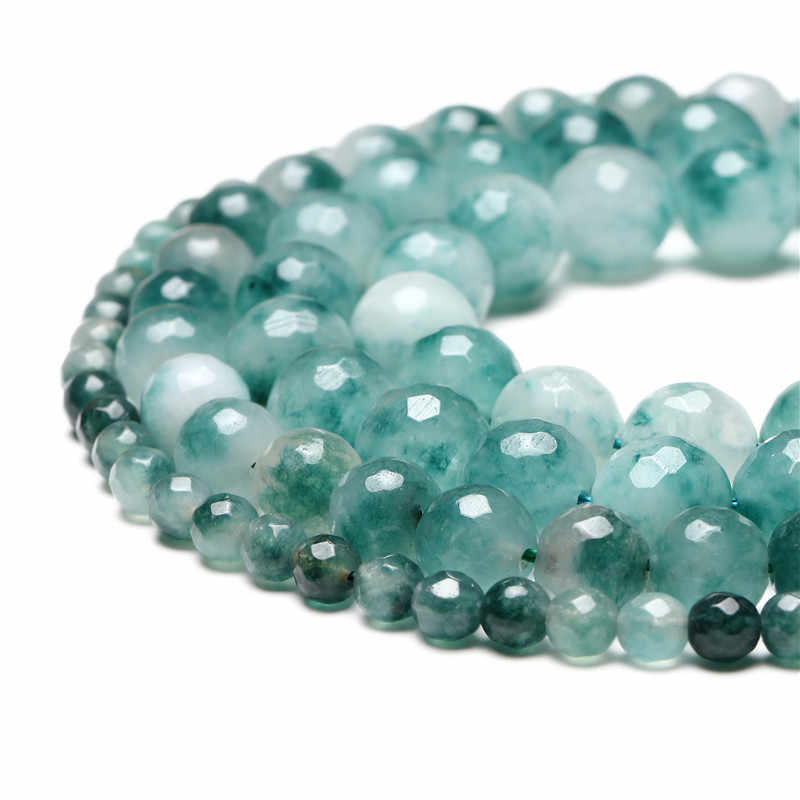 Grosir Segi Hijau Daun Chalcedony Jade 4/6/8/10/12/14 Mm Pilih Ukuran batu Permata Manik-manik Aksesoris untuk Perhiasan Membuat