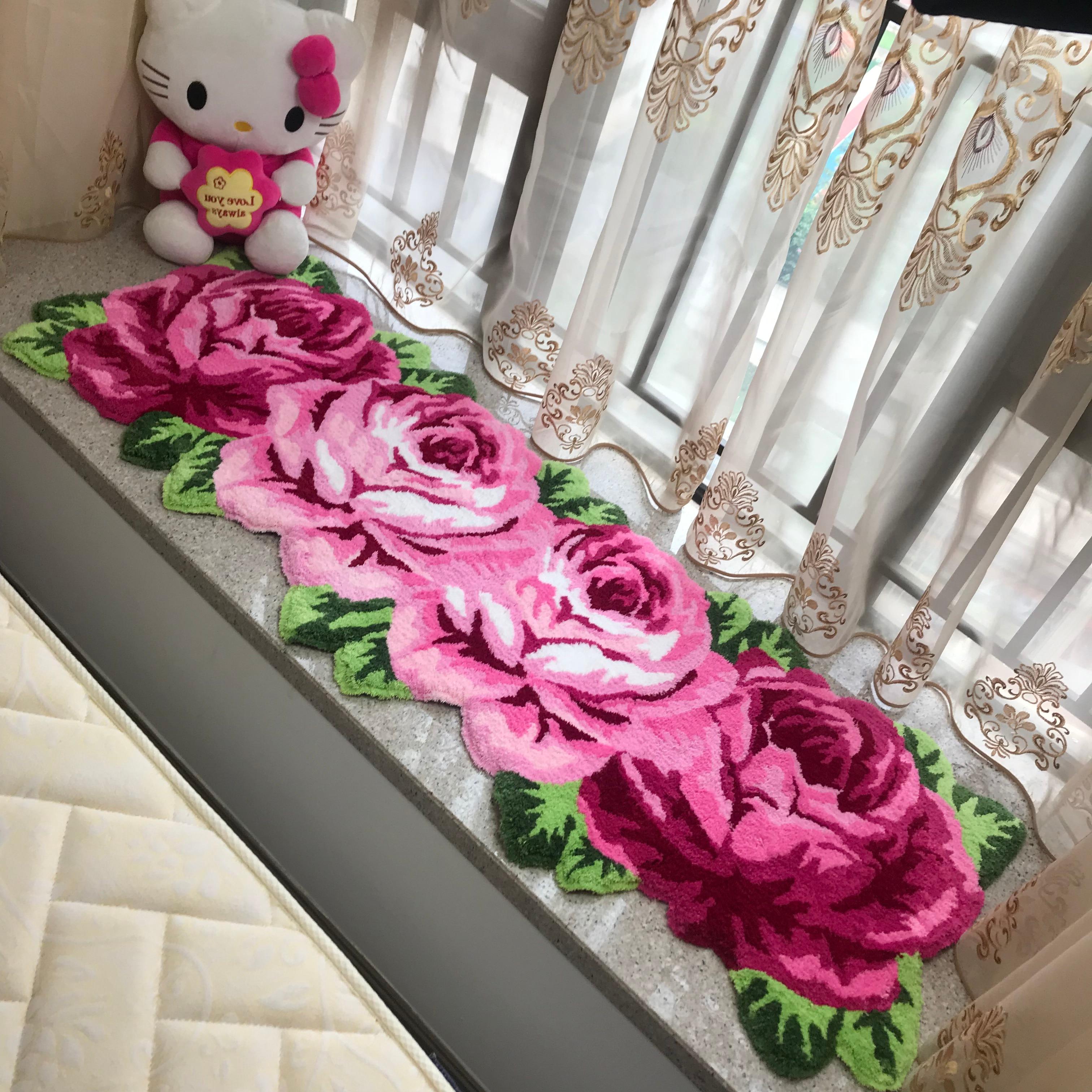 Nouveauté flocage rose tapis rose tapis rose tapis rose rouge
