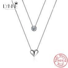 Женское Двухслойное ожерелье из серебра 925 пробы с кулоном