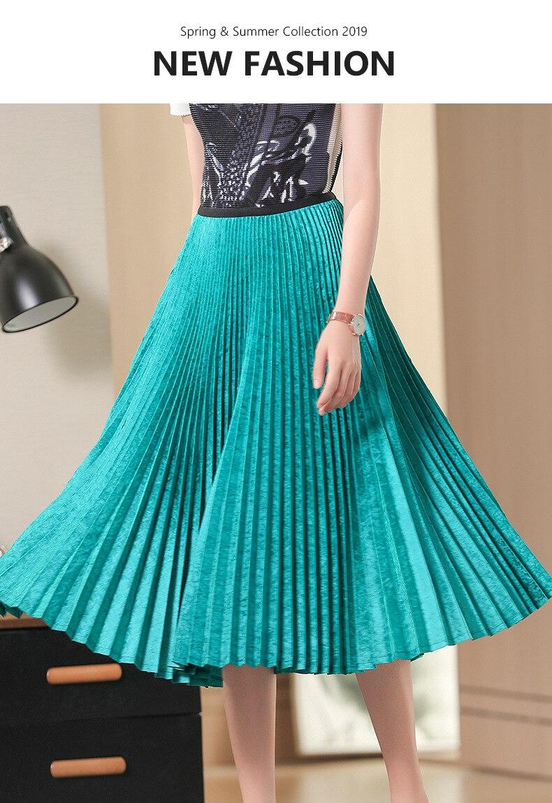 Vente chaude jupe plissée verte femme la nouvelle jupe Jacquard taille haute en STOCK