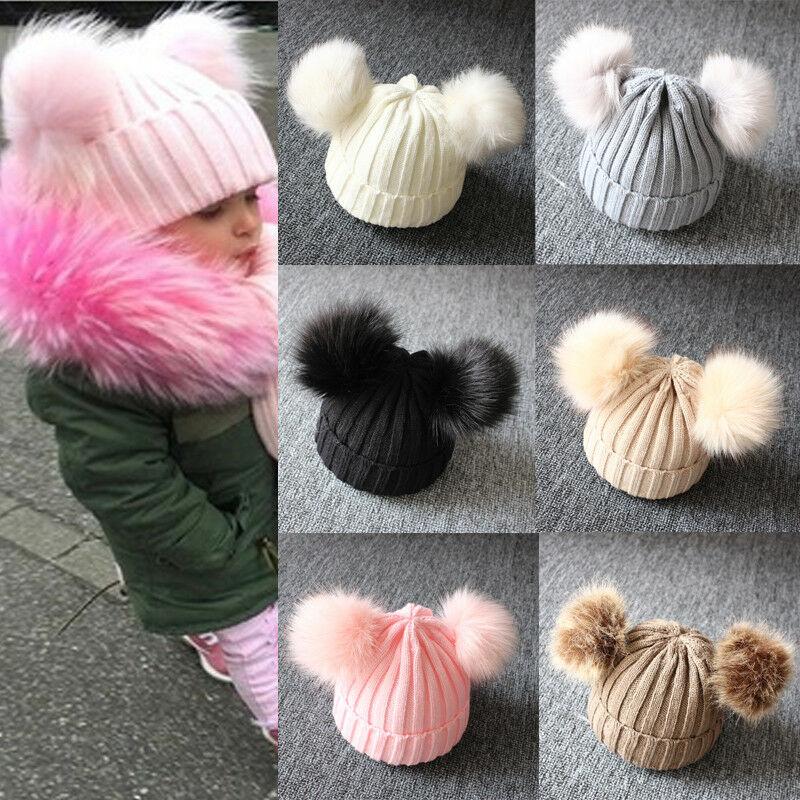Warm Fur 16cm Double Pom Pom Hat Winter Knit Bobble Beanie Cap Baby Boys Girls