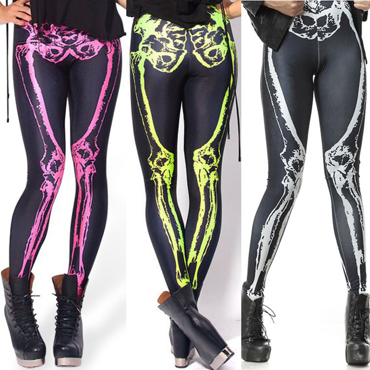 Europe And America Digital Printing Women's Leggings Three-Color Zombie Skeleton Skinny Capri Pants