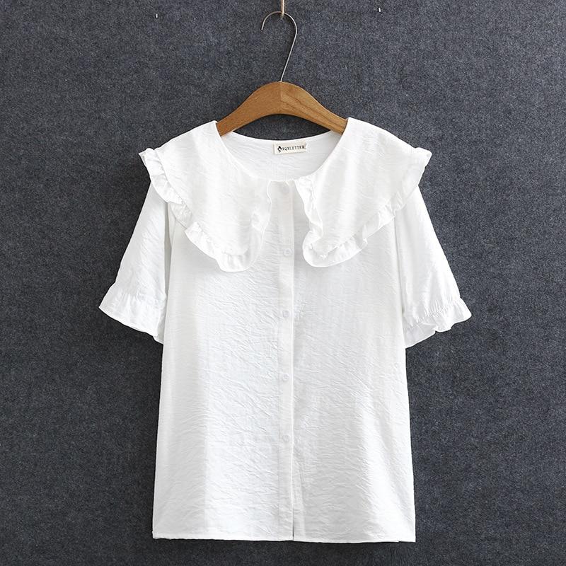 Peter Pan Collar Summer Blouse Women Plus Size Ruffles Casual Short Sleeve Blouse Shirt KKFY4638