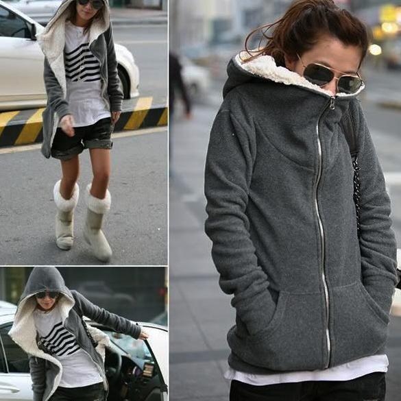 Fashion Women Zip Up Tops Hoodie Coat Black, Dark Gray. Jacket Outerwear 372g (approx). Sweatshirt