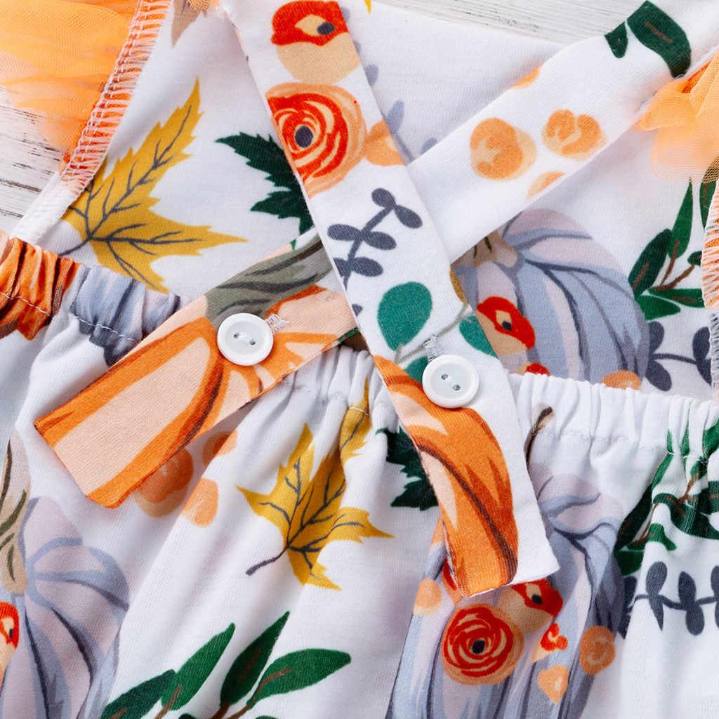 Pasgeboren Baby Baby Herfst Winter Bodysuit Kleding Peuter Kids Baby Meisjes Halloween Pompoen Print Romper Bodysuit Haarband Set