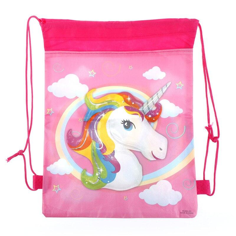 1pc 35.5*27.7cm Unicorn Drawstring Storage Bag Kid Birthday Party Wedding Graduation Decor