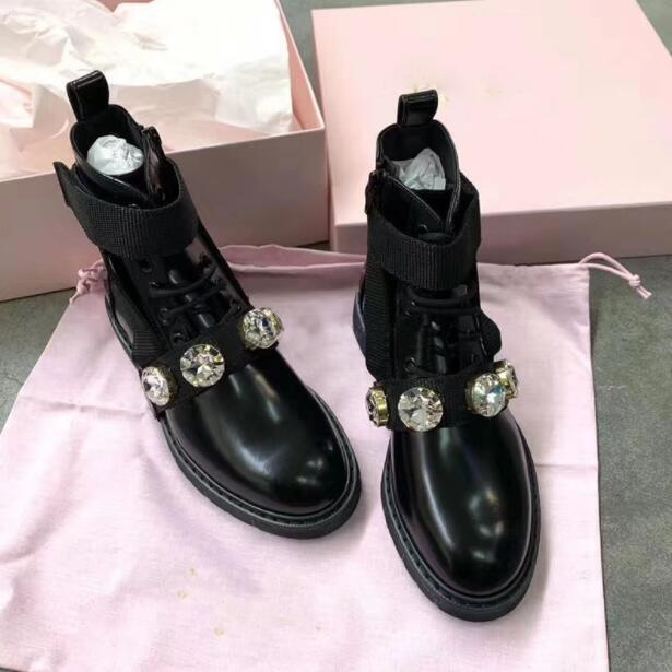 2020 Winter Women Thick Sole Lace up Ankle Strappy Short Boot Women Flat Rhinestone Martin Black Genuine Leather Motorcycle Boot|Ankle Boots| - AliExpress