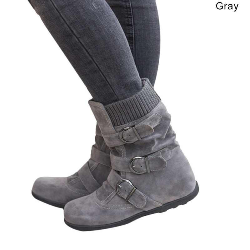LOOZYKIT bayan botları düz alt büyük boy kısa kalın pamuklu botlar düz tabanlı marka botlar kadın