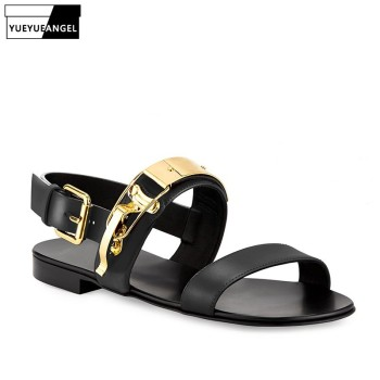 Summer Mens Flats Golden Buckle Open Toe Gladiator Sandals Man Vintage Rome Casual Genuine Leather Sandals Plus Size Beach Shoes