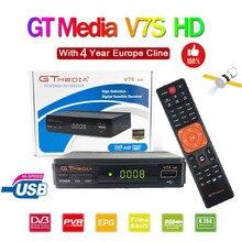 Receptor de satélite original GT media V7S HD HD, DVB S2 V7S Full HD, USB 2.0 DC 12V/1,2A de alta qualidade + Europa grátis 7 cline cccam