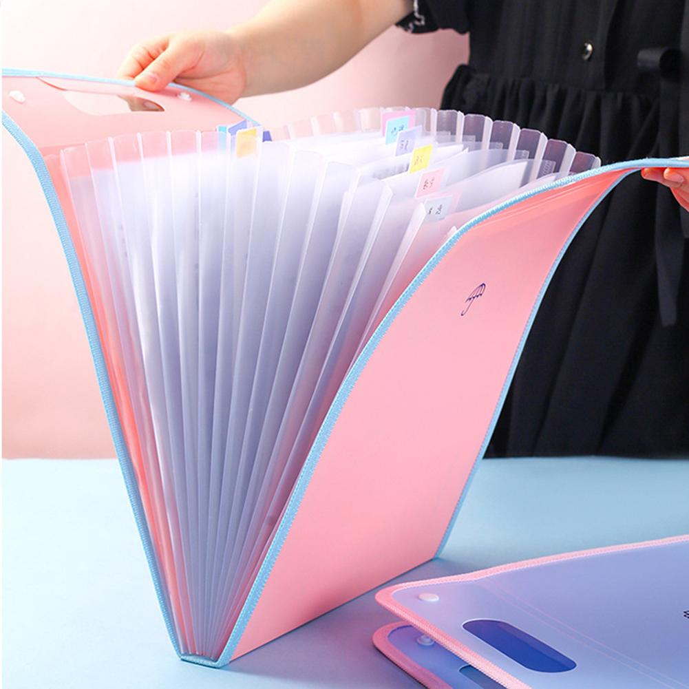 Light Color Vertical Organ Bag Folder Portable Information Book Innovative Bill Paper Clip Candy Color Simple A4 Organizer Paper