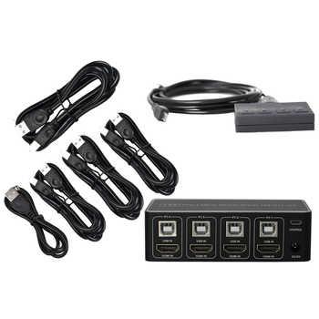 4 port HDMI KVM Switch 4K USB HDMI KVM Switcher 4 in 1 out 4KX2K/60HZ win10/8/mac os. PC laptop