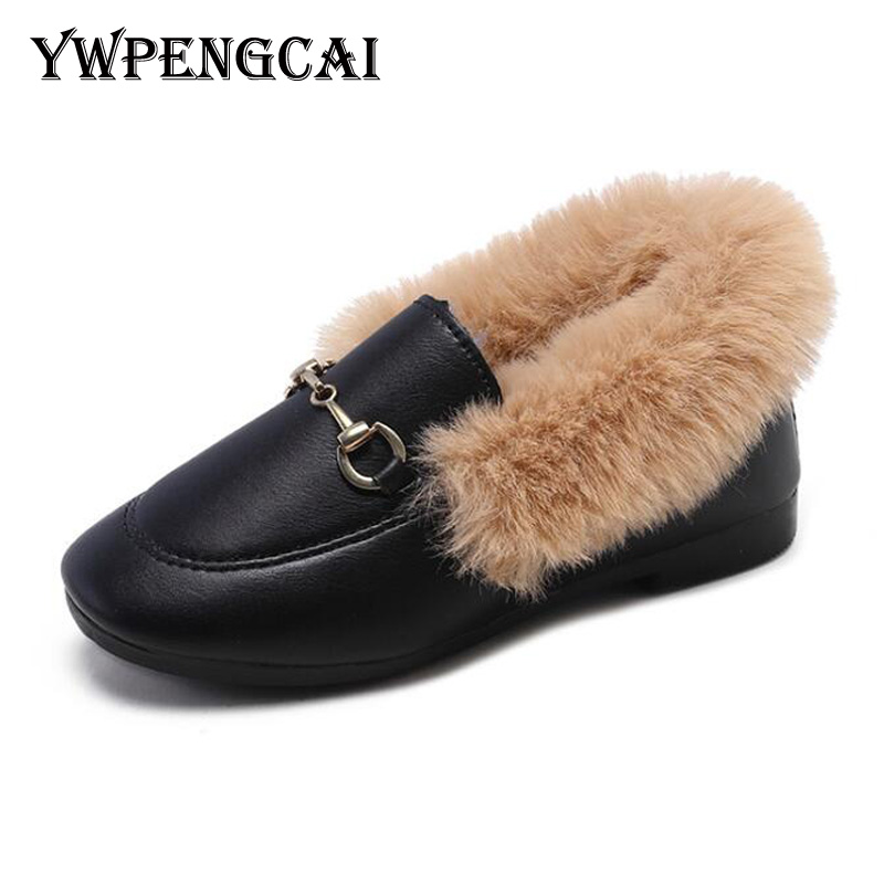 Autumn Winter Kids Warm Fur Shoes Boys Loafers Girls Flat Moccasins Shoes Size 26-35 Soft PU Leather Children Shoes