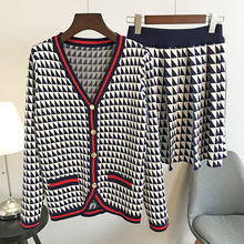 Milinsus 2019 New Autumn 2 Piece Set knitted suit Women Cardigans and Skirt Stripes Plaid Sweater Outfits Office Ladies