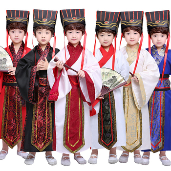 7Color Kids Chinese Ancient Costume Traditional Dynasty Official Stage Performance Party Clothing Folk Dance Hanfu Costumes Set