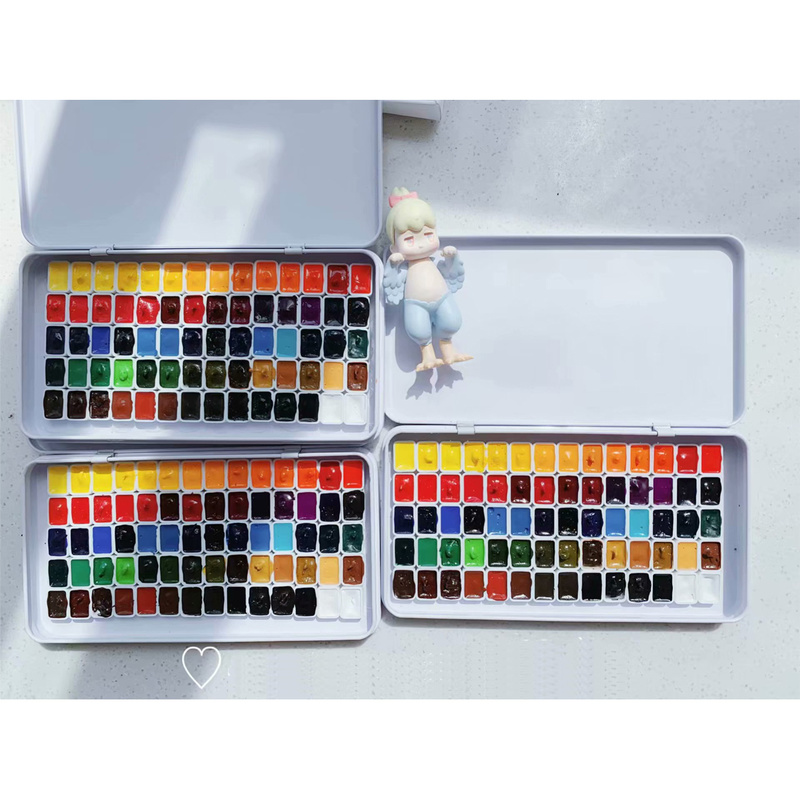 70 Colors Mini Watercolor Painting Watercolour Sub-Package 0.5ml/1ml Mini-Suit Pigments Iron Box Packaging