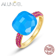 ALLNOEL 925 Sterling Silver Ring Rings for Women Candy Sweety Rings Natural Agate Red Corundum 2021 Gold Ring Size 6/7/8