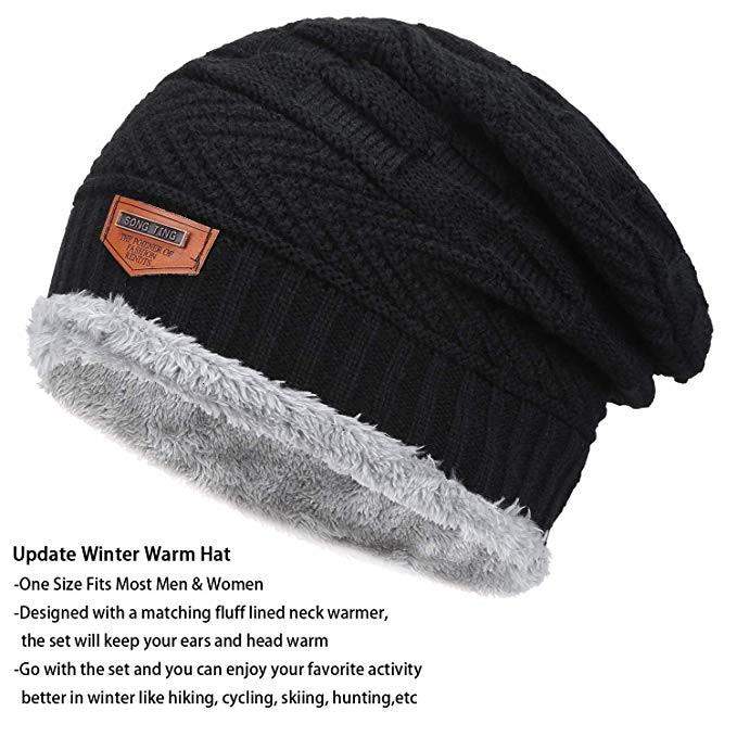 Image 4 - Winter Men Woman Hat Scarf Suit Knit Warm Beanie Hat For Men Skullies Beanies Thickening Plus Velvet Scarf Suit Unisex 2Pcs-in Men's Skullies & Beanies from Apparel Accessories