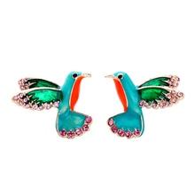 2019 Cute Creative Enamel Bird Earrings New Design Women Stud Fashion Jewelry Decoration