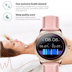 Image 4 - Женские Смарт часы IP67 водонепроницаемые часы монитор артериального давления пульсометр смарт браслет для Samsung Xiaomi Huawei CF18