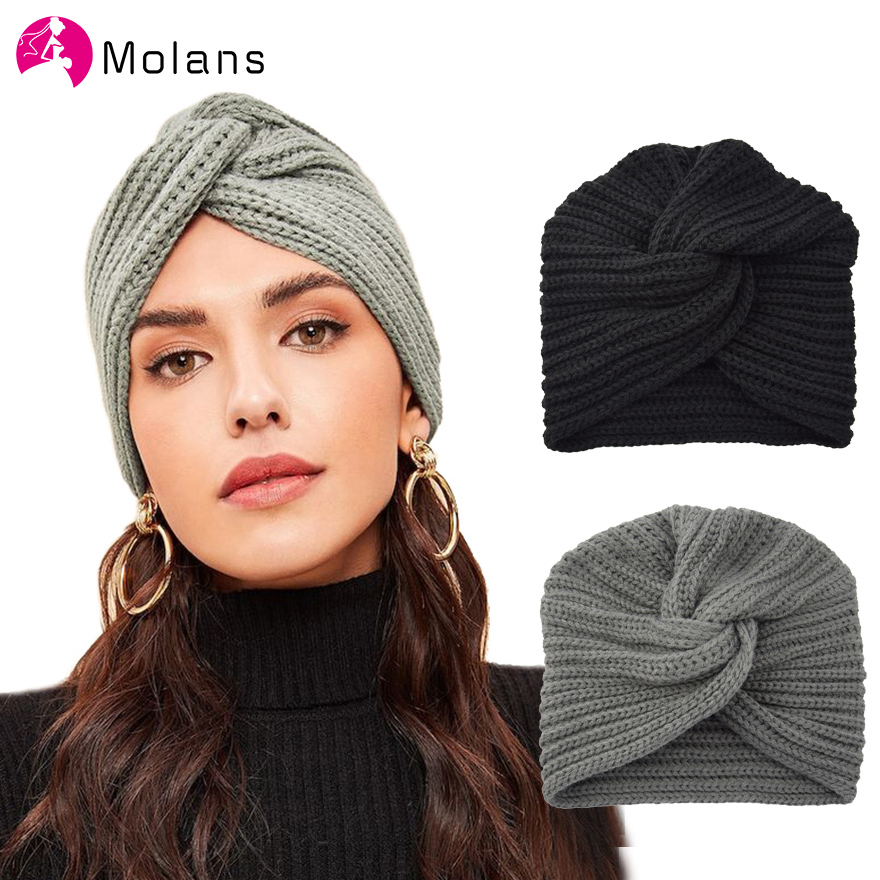 MOLANS New Knot Bandanas Turban Headband 2019 Autumn Winter Warm Knitting Turban Cap Solid Center Cross Women Hair Scarfs