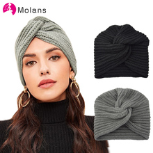 MOLANS New Knot Bandanas Turban Headband 2019 Autumn Winter Warm Knitting Cap Solid Center Cross Women Hair Scarfs