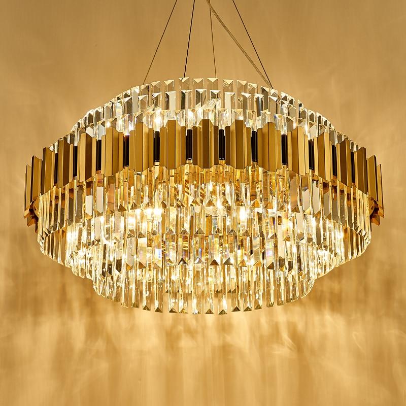 Современный роскошный светодиодный хрустальный канделябр для роскошной гостиной, столовой с E14 лампочкой, Золотая хрустальная люстра из