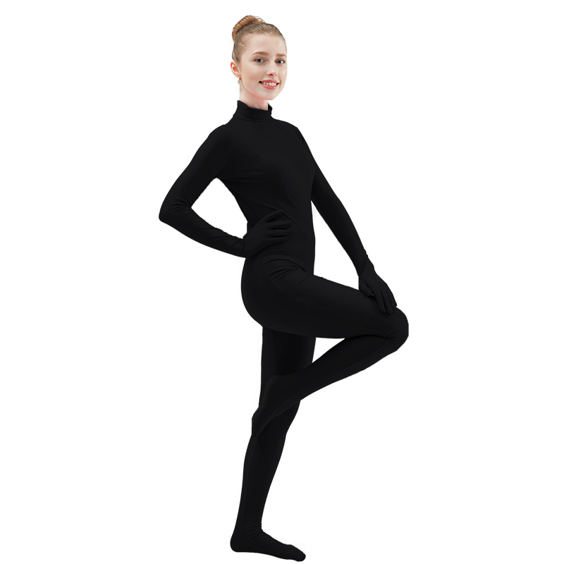Nylon Black Jumpsuit//High Neck Bodysuit// Dance Catsuit //Footed handed Costume