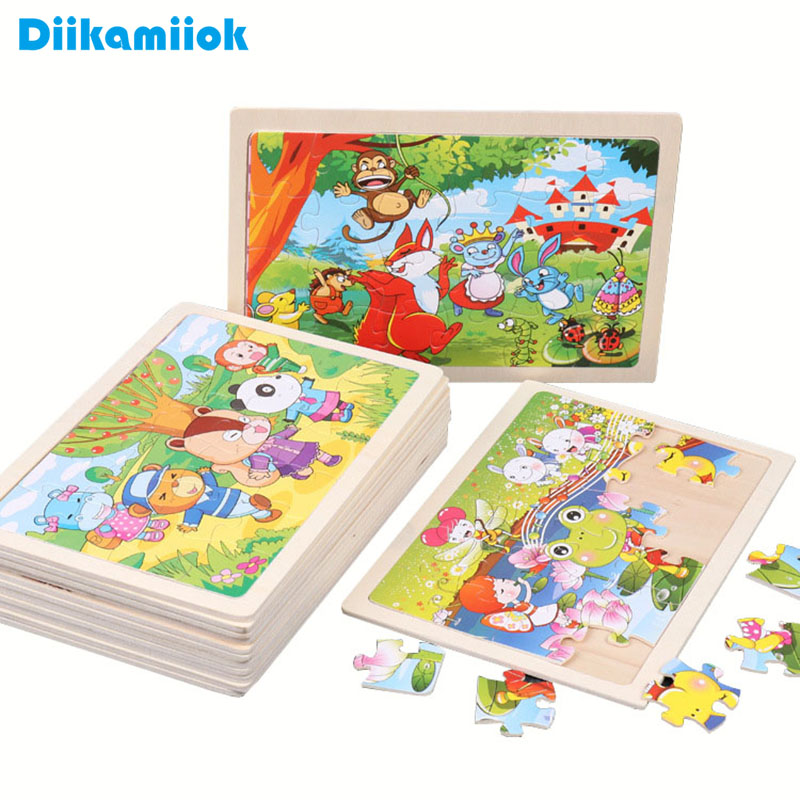New 24 Piece Wooden Jigsaw Puzzle Baby Early Childhood Educational Toys For Children Cartoon Animal Puzzles Kids Interactive Toy