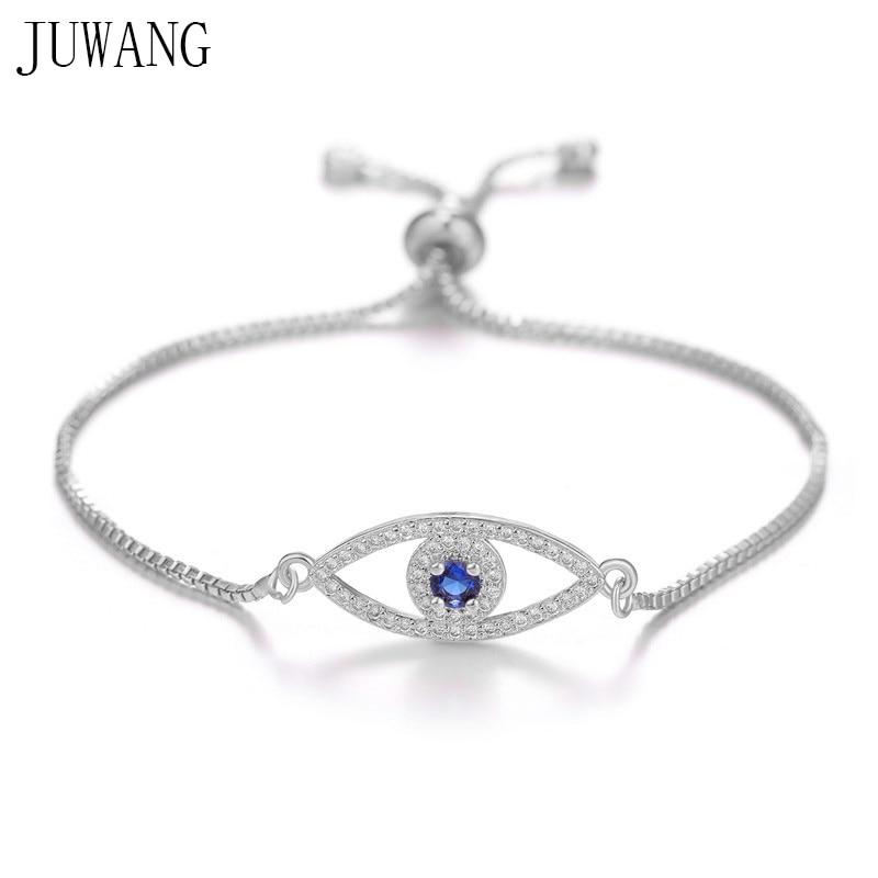JUWANG Turkish Blue Evil Eye Charm Link Bracelets For Women Vintage Fatima Hand Chain Bracelet Fashion DIY Jewelry ojo turco