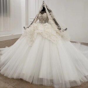 Image 3 - Свадебное платье HTL1180, арабские Свадебные платья es, Дубай, длинные рукава, кружевные аппликации, блестки, иллюзия, маленькая спина, свадебное платье