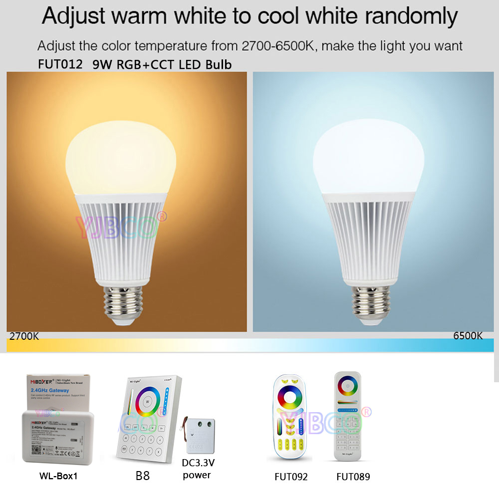 Miboxer <font><b>FUT012</b></font> E27 9W RGB+CCT LED Bulb Spotlight 110V 220V Full Color Remote Control Smart Bulb WiFi Compatible 4-Zone Remote image