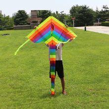 New Long Tail Rainbow Kite Outdoor Kites Flying Toys Kite For Children Kids H55B