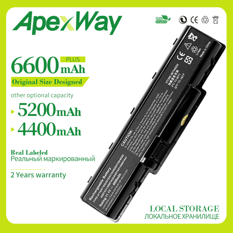 Apexway 11.1V 6cells <font><b>laptop</b></font> <font><b>battery</b></font> for <font><b>Acer</b></font> Aspire 2930 4710 4930G 5740 5737Z AS07A31 AS07A71 <font><b>AS07A75</b></font> BT.00603.036 image