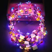10/7pcs Women Head With Lights Lit LED Flower Hair Crown Flower Wreath Wedding Party Garden Festive Party Valentine Decora 2020(China)