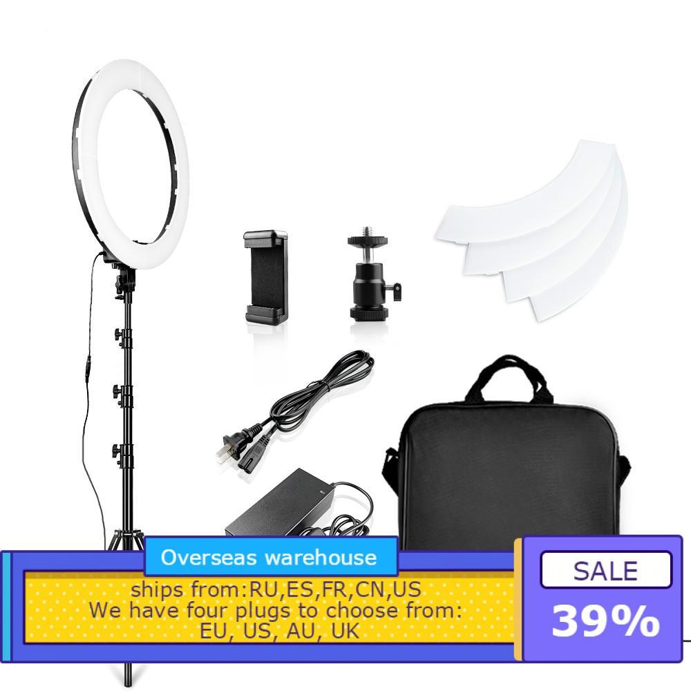 LED anneau lumière 18 pouces anneau lampe Photo anneau avec trépied support pour téléphone pour YouTube maquillage Studio photographie ringligt